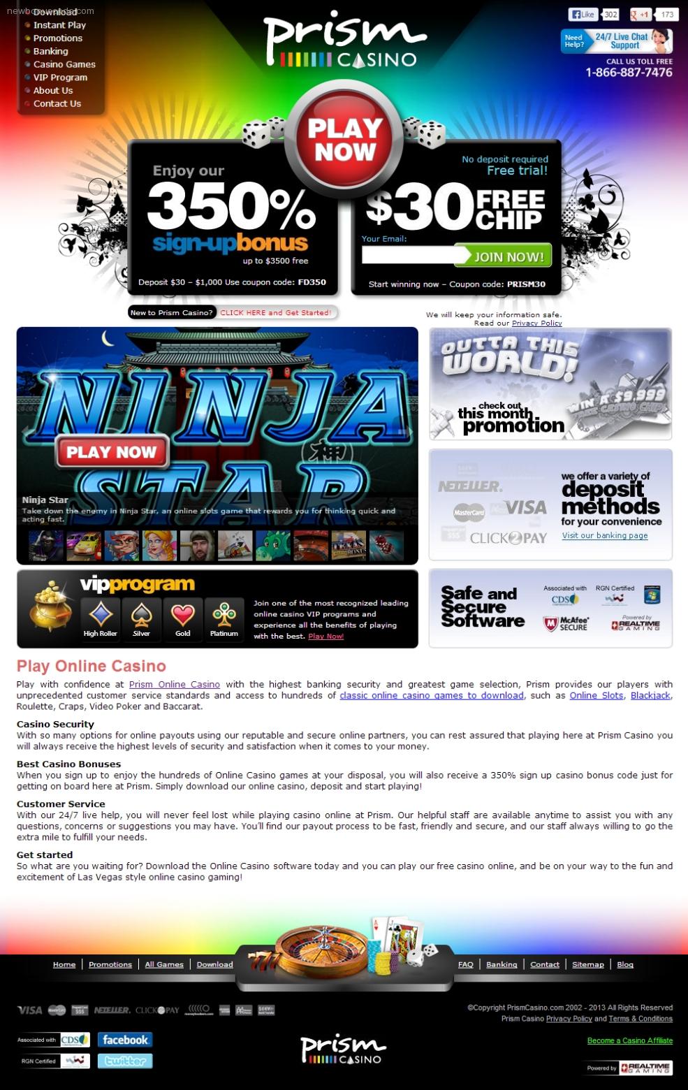 prism casino big free chip list